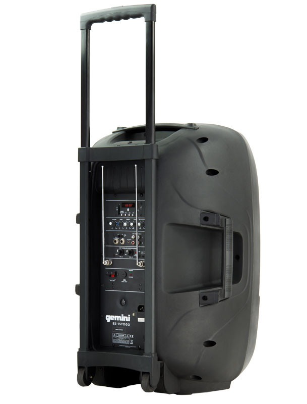 gemini es 15togo 15 39 39 battery powered speaker w 2 wireless microphones planet dj. Black Bedroom Furniture Sets. Home Design Ideas