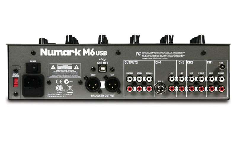 Numark M6-USB 4-Channel USB DJ Mixer, Black