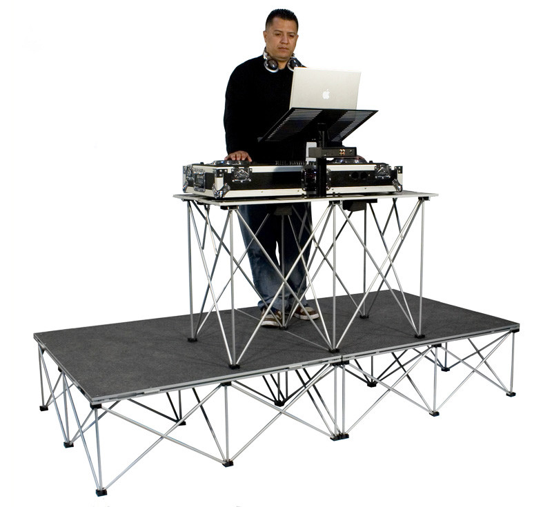 road ready rrdjpak16 4 39 x 8 39 carpeted portable dj platform w fold out table planet dj. Black Bedroom Furniture Sets. Home Design Ideas