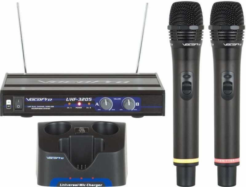 vocopro uhf 3205 dual channel rechargeable wireless microphone system band 9 planet dj. Black Bedroom Furniture Sets. Home Design Ideas