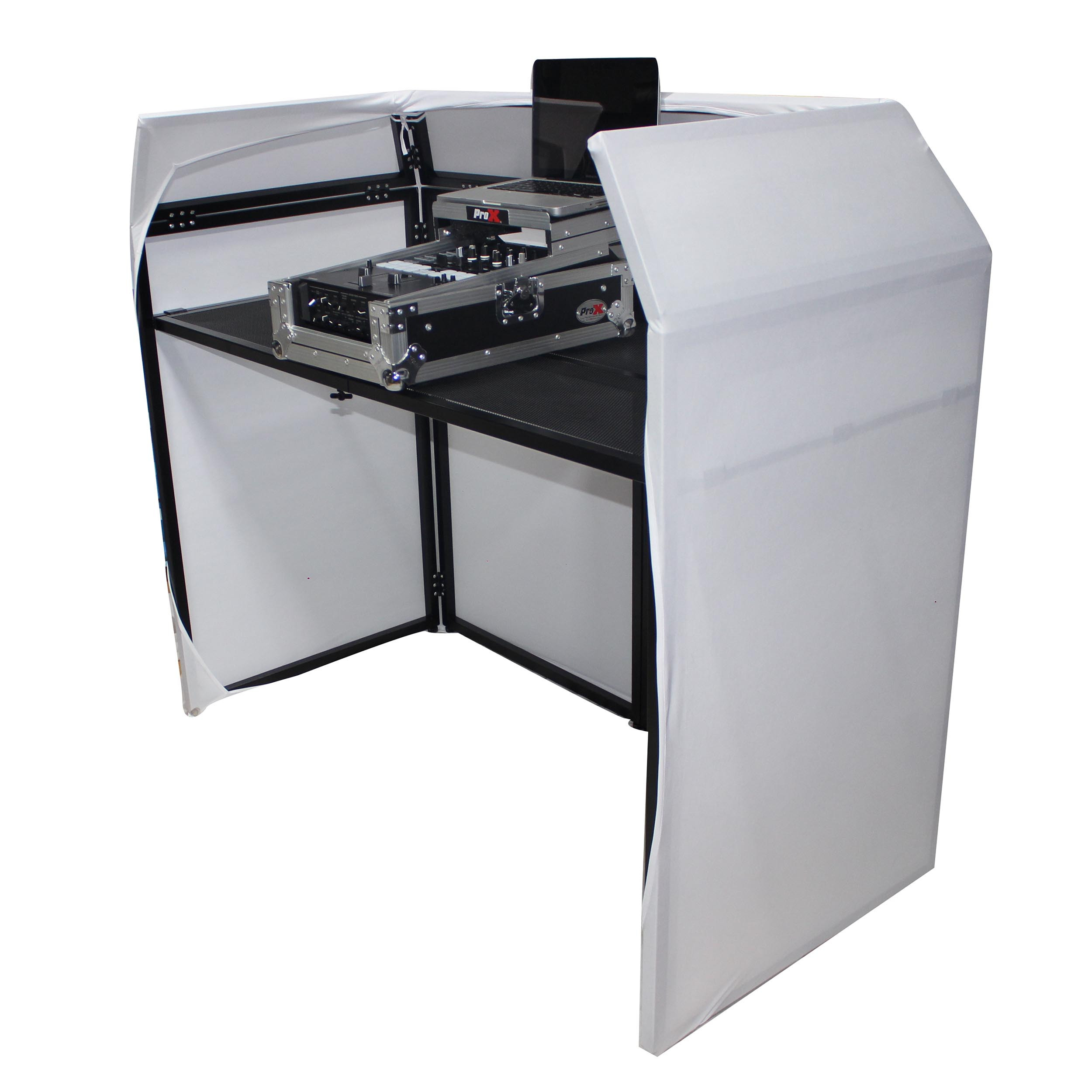 Pro X XF Mesa BL Folding DJ Booth with White and Black Scrim